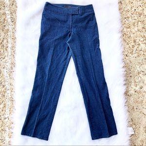 APOSTROPHE cigarette dark wash work pants jeans.